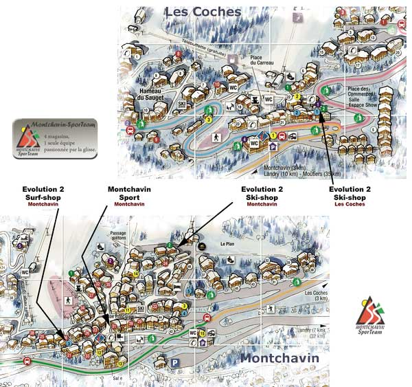 Montchavin - Les Coches Sports stores map